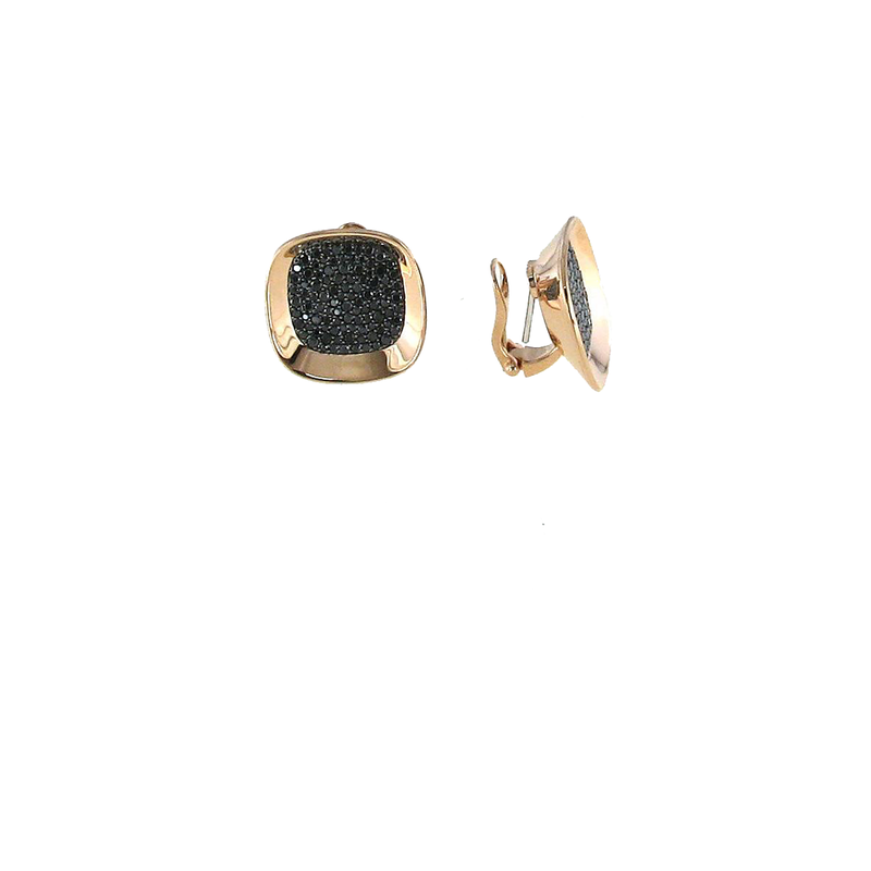 Roberto Coin 18Kt Gold Earrings With Black Diamonds