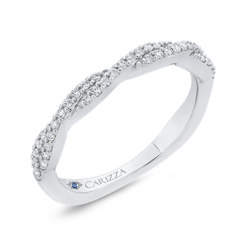 Round Cut Diamond Crossover Shank Half-Eternity Wedding Band In 18K White Gold