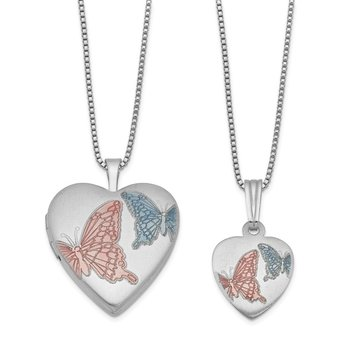 Sterling Silver RH-plated Enamel Butterflies Heart Locket & Pendant Set