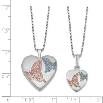 Sterling Silver RH-plated Satin Enamel Butterflies Heart Locket & Pend Neck
