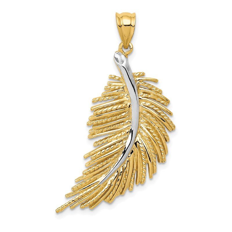 Quality Gold 14k w/White Rhodium Polished Feather Pendant
