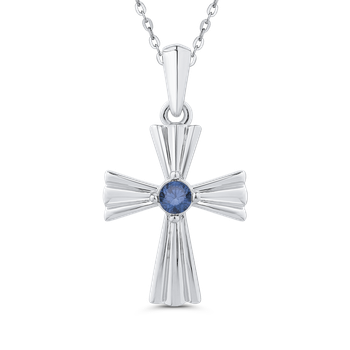 10K White Gold 1/5 Ct Blue Diamond Cross Pendant with Chain