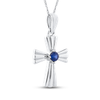 Essentials 10K White Gold 1/5 Ct Blue Diamond Cross Pendant with Chain