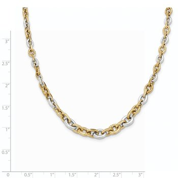 14K Two-tone Polished & Diamond Cut Necklace
