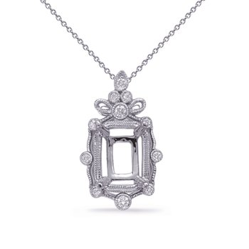 White Gold Diamond Pendant 5x3 EC Center