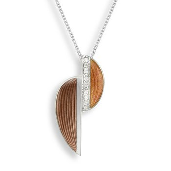 Brown Art Deco Necklace.Sterling Silver-White Sapphire