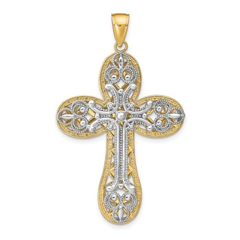 14K Two-tone Diamond-cut Layered Cross Pendant