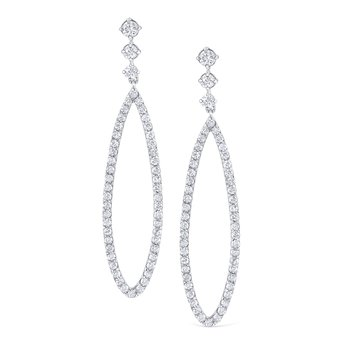 14K Diamond Open Tear Drop Earring