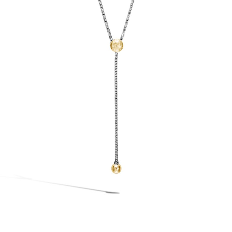 JOHN HARDY Classic Chain Y Necklace in Silver and Hammered 18K Gold