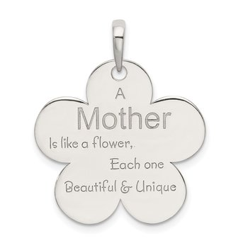 Sterling Silver Polished Mother Flower Pendant