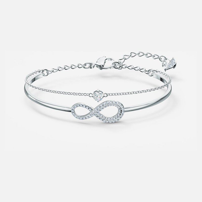 Swarovski Swarovski Infinity Bangle, White, Rhodium plated