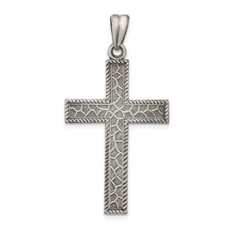 Quality Gold Sterling Silver Antiqued, Polished and Brushed Latin Cross Pendant