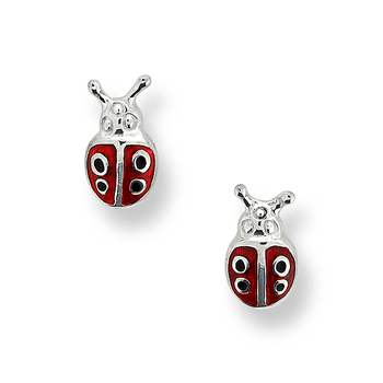 Fine Enamels Sterling Silver Ladybug Stud Earrings-Red