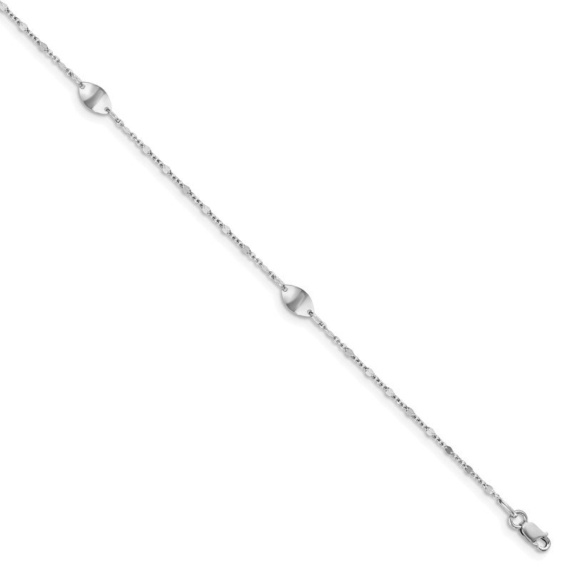 Leslie's Leslie's 14k White Gold Polished with 1in ext. Anklet