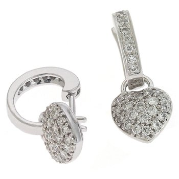 White Gold Heart Earring