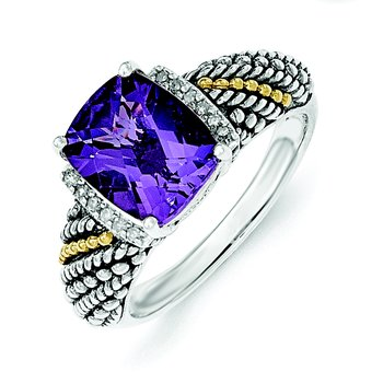 Sterling Silver w/14k Diamond and Amethyst Ring