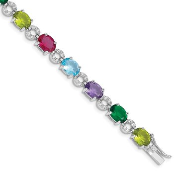 Sterling Silver Rhodium-plated 7inch Multicolor CZ Bracelet