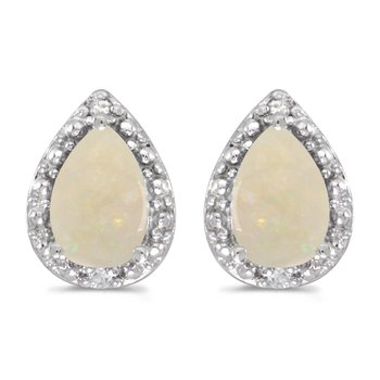 14k White Gold Pear Opal And Diamond Earrings