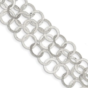 Sterling Silver Polished & Textured Multi-Strand Toggle Bracelet