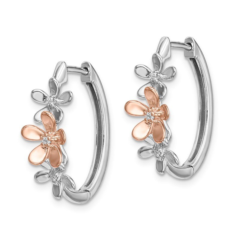 Quality Gold 14k Rose and White Gold Diamond Earrings