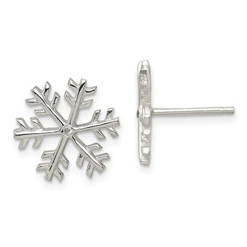 Sterling Silver CZ Polished Snowflake Post Earrings