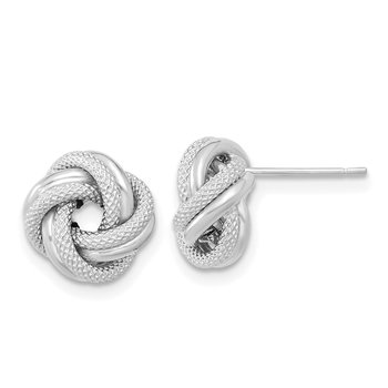 14k White Gold Polished Textured Double Love Knot Post Earrings