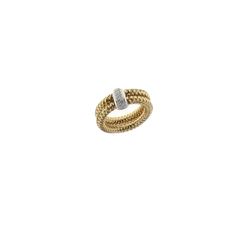 Roberto Coin 18Kt Gold Double Row Ring With Diamonds
