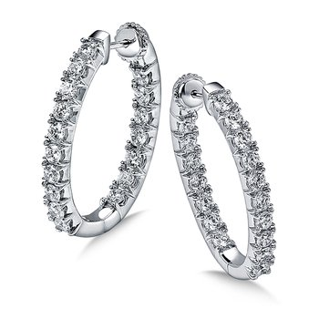 Locking Diamond Round Reflection Hoops in 14K White Gold with Platinum Post