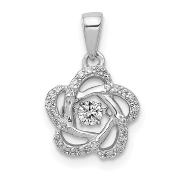 14k White Gold Vibrant Diamond Flower Pendant