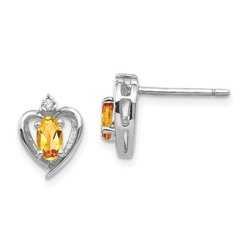 14k White Gold Citrine and Diamond Heart Post Earrings