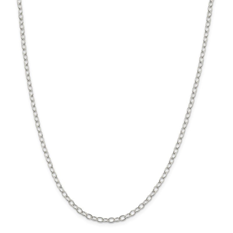 Quality Gold Sterling Silver 3.4mm Oval Cable Chain