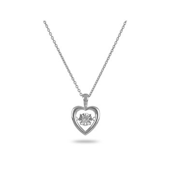 14K WG Solitaire Dancing Diamond Heart Pendant