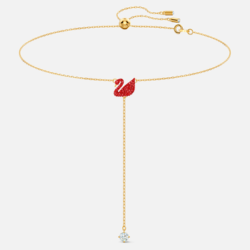 Iconic Swan Y Necklace, Red, Gold-tone plated