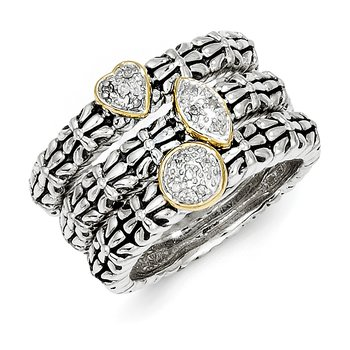 Sterling Silver w/14k Diamond 3 Stackable Rings