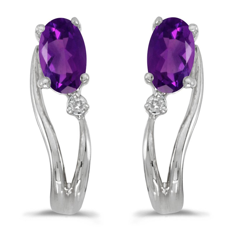 Color Merchants 14k White Gold Oval Amethyst And Diamond Wave Earrings