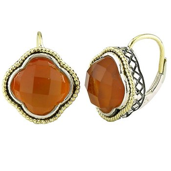 18kt and Sterling Silver Large Red Agate Doublet Clover Euro Wire Earrings