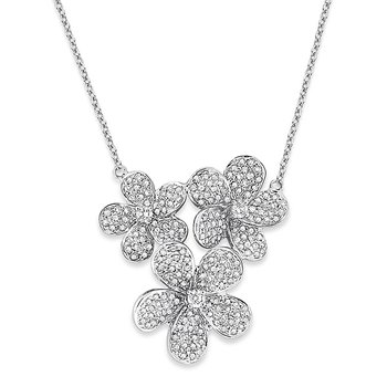 Diamond Triple Flower Necklace in 14k White Gold with 203 Diamonds weighing 1.00ct tw.