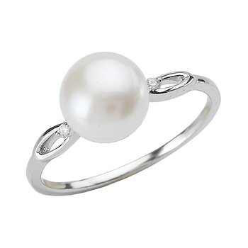 SILVER WHITE FW  PEARL RING   8-8.5MM BUTTON PRL W/  D.01CTW
