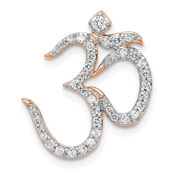 14k Rose Gold 1/3ct. Diamond Om Chain Slide