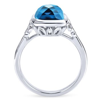 925 Sterling Silver Blue Topaz Ladies Ring