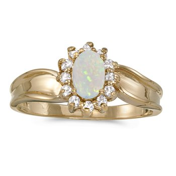 10k Yellow Gold Oval Opal And Diamond Ring