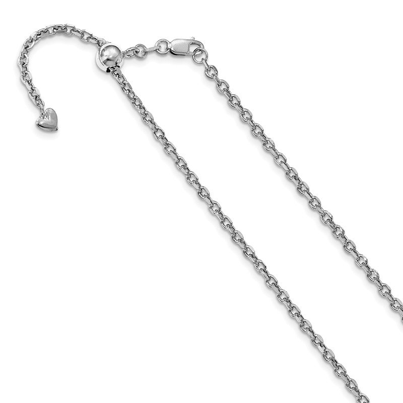 Leslie's Leslie's 14K White Gold Adjustable 2.5mm Semi-Solid D/C Cable Chain