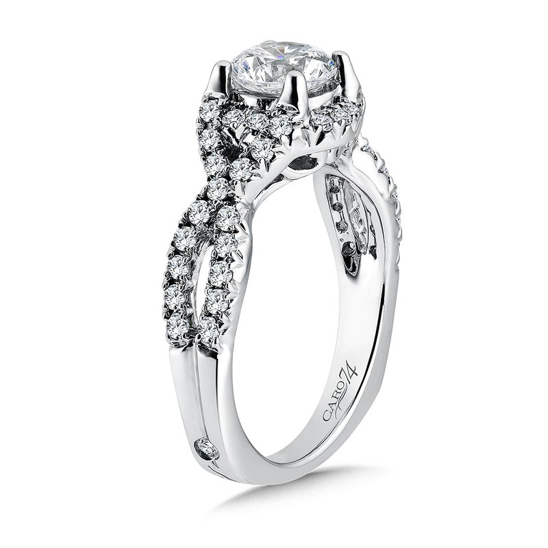 Caro74 Luxury Collection Criss Cross Engagement Ring with Side Stones in 14K White Gold (1ct. tw.)