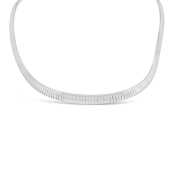 14K White Gold Omega Chain Necklace Retro