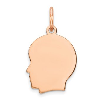 14k Rose Plain Small.013 Depth Facing Left Engraveable Boy Head Charm