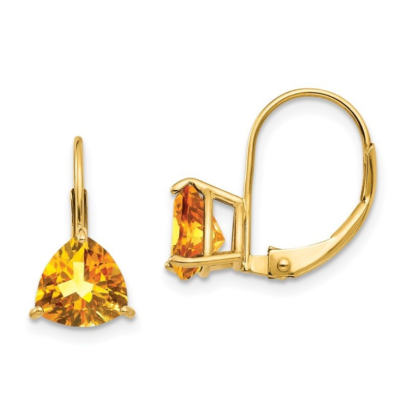 Quality Gold 14k 7mm Trillion Citrine Leverback Earrings