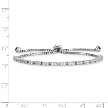 Sterling Silver Rhod-plated April CZ Adjustable Bracelet