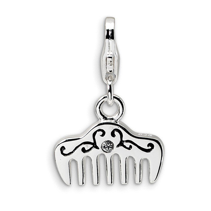 Quality Gold Sterling Silver Swarovski Element & Enamel Comb w/Lobster Clasp Charm