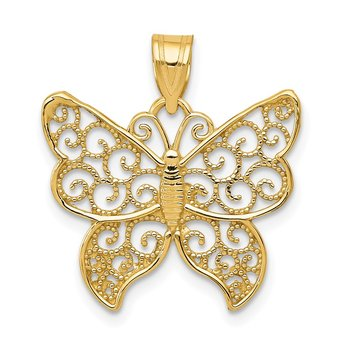 14k Filigree Butterfly Pendant