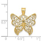 Quality Gold 14k Filigree Butterfly Pendant